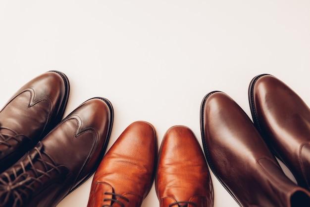 Drie paar stijlvolle leren laarzen voor heren