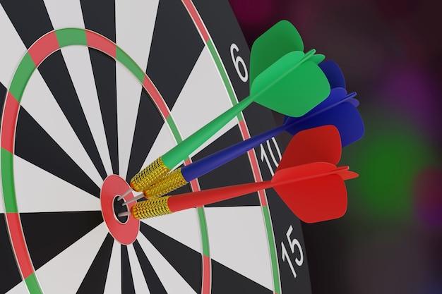 Drie pijlen, blauw, rood en groen, geplakt in het midden van een doelwit