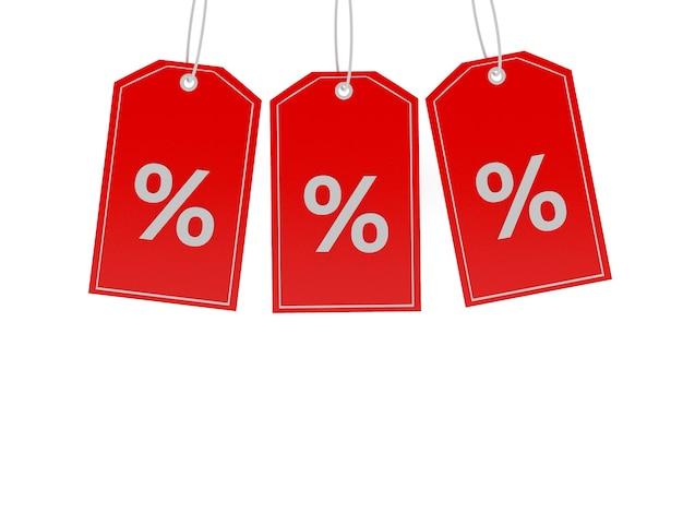 Drie prijskaartjes met procentteken