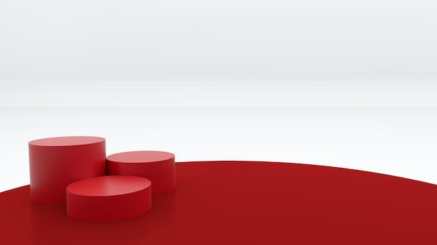 Drie rode ronde podia worden op een rode achtergrond geplaatst