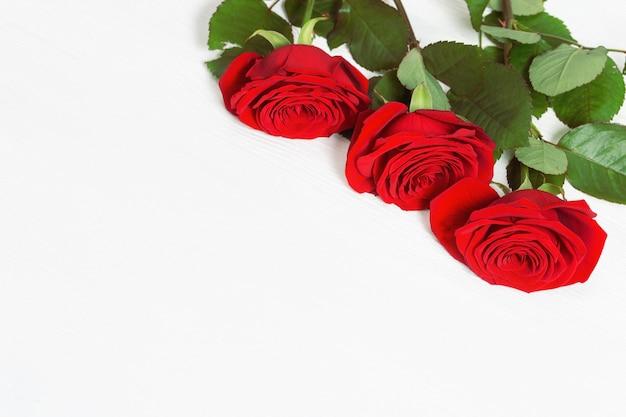 Drie rode rozen sluiten omhoog op witte houten achtergrond met exemplaarruimte. floral wenskaart.