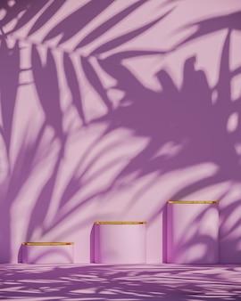 Drie roze podium en gouden bovenkant op zonnescherm en plantenschaduwen op roze muur