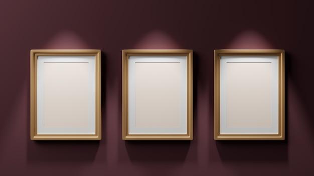 Drie schilderijen in gouden lijsten op een donkere bordeauxrode muur, mockup, 3d render