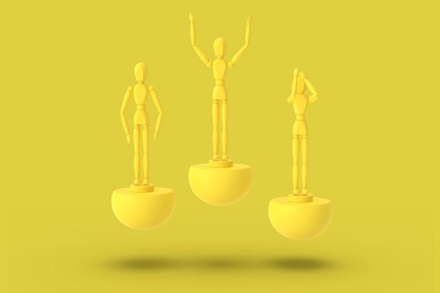 Drie speelgoed man van gele kleur op een sport abstracte sokkel. minimaal concept: winnaar, verliezer. 3d renderen.