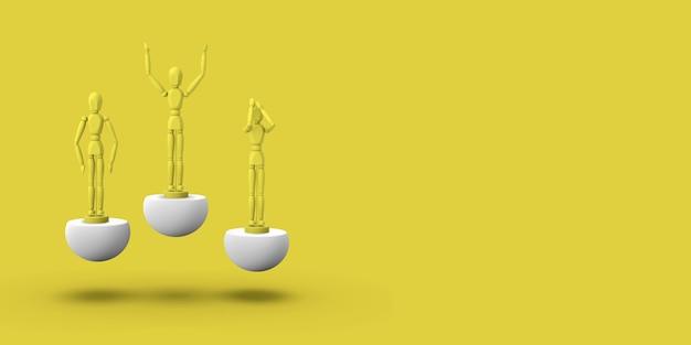 Drie speelgoed man van gele kleur op een sport abstracte sokkel