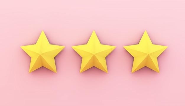 Drie sterren op roze