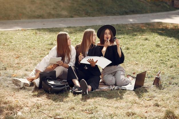 Drie studenten zitten op een gras met laptop