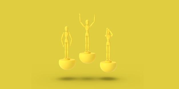 Drie stuk speelgoed mens van gele kleur op een 3d sport abstract voetstuk geeft terug