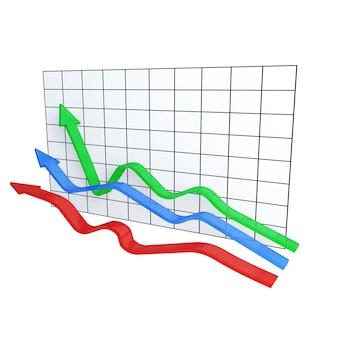 Drie varicolored kronkelende pijlen op diagram op wit