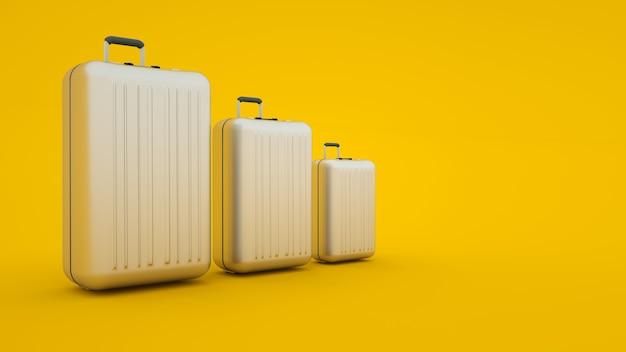 Drie verschillende maten koffers geïsoleerd op gele achtergrond