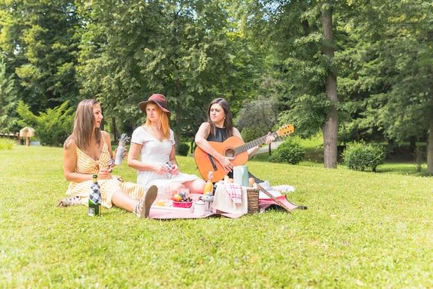 Drie vrouwelijke vrienden die van de picknick op groen gras genieten