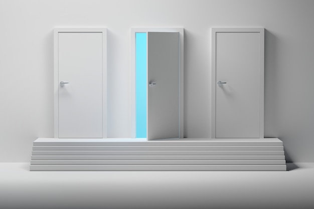 Drie witte deuren en een geopende deur boven de trap