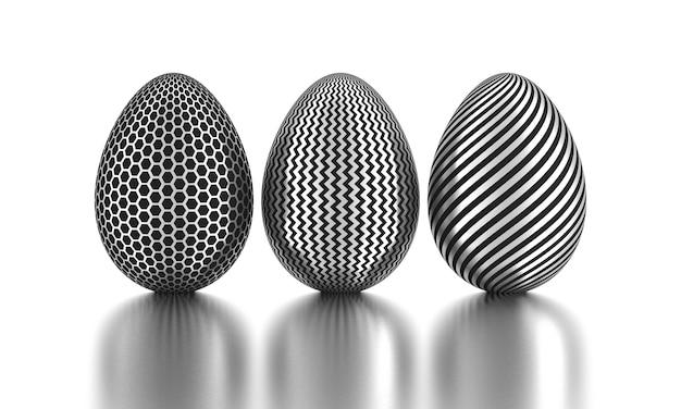 Drie zilver geverfde paaseieren met reflecties. 3d-weergave