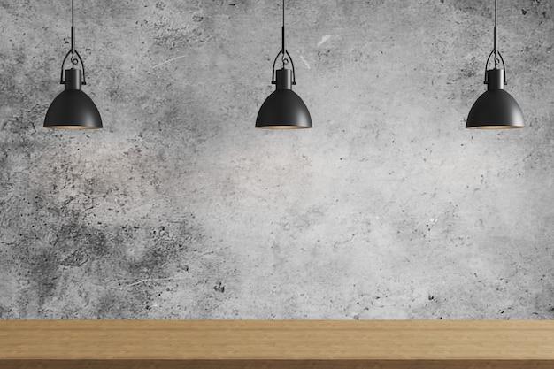 Drie zwarte hanglamp boven houten oppervlak op grijze betonnen muur achtergrond, plafondverlichting
