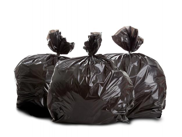 Drie zwarte vuilniszakken