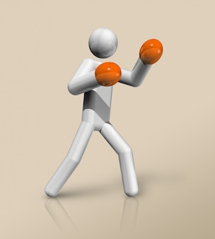 Driedimensionaal bokssymbool, olympische sporten. illustratie