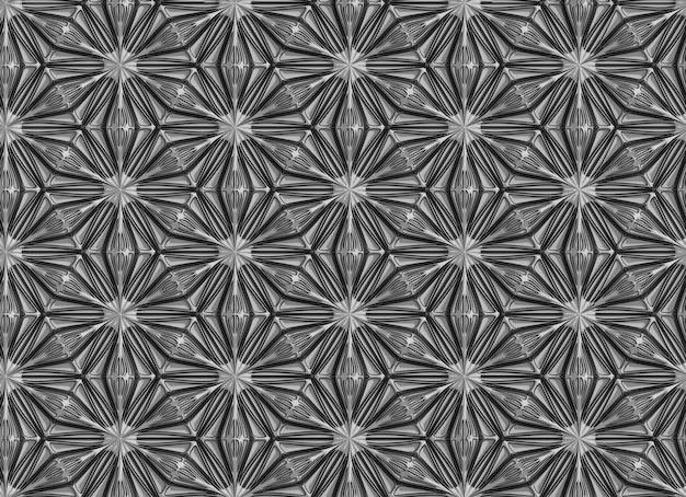 Driedimensionaal donker geometriepatroon met zespuntige bloemen