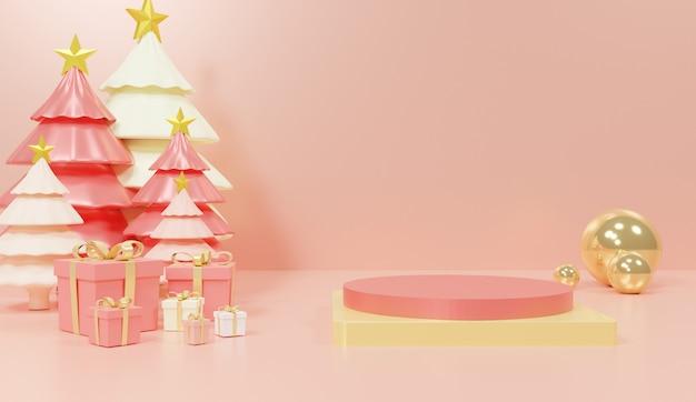 Driedimensionaal geometrisch podium voor productpresentatie met bomen en cadeautjes