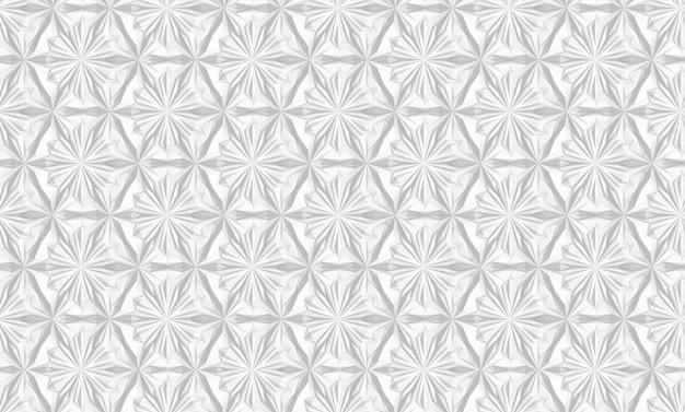 Driedimensionaal geometrisch wit patroon met zespuntige bloemen