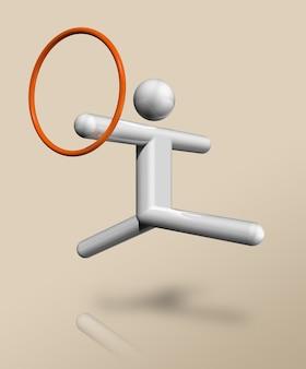 Driedimensionaal gymnastiek ritmisch symbool, olympische sporten. illustratie