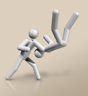 Driedimensionaal judo-symbool