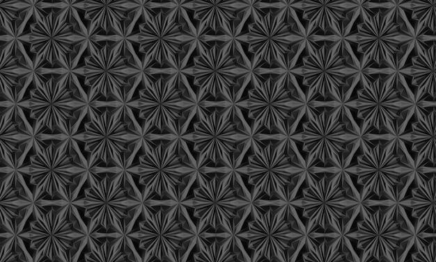 Driedimensionaal lichtgeometriepatroon met zespuntige bloemen