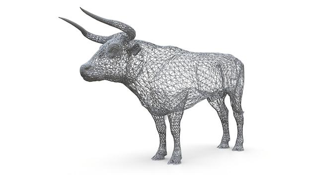 Driedimensionaal maasmodel van een stier. de statische figuur van een kalm dier. een sculptuur van een stier van het veelhoekige kader
