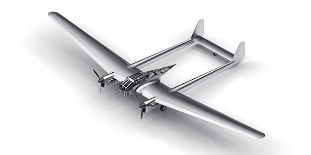 Driedimensionaal model van het bommenwerpervliegtuig uit de tweede wereldoorlog. glanzend aluminium lichaam met twee staarten en brede vleugels. turboprop-motor. glanzend grijs vliegtuig op een witte achtergrond. 3d-afbeelding.
