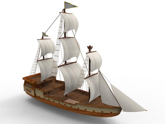 Driedimensionaal oud zeilschip