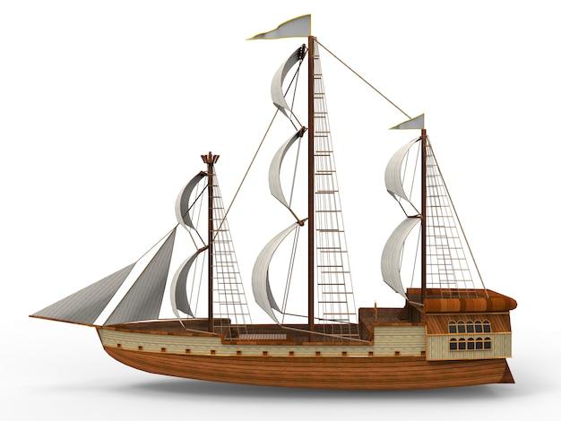 Driedimensionaal raster van een oud zeilschip op wit met zachte schaduwen