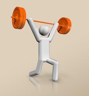 Driedimensionaal symbool voor gewichtheffen, olympische sporten. illustratie