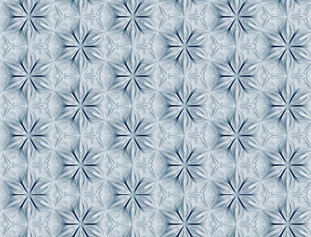Driedimensionaal wit patroon met zespuntige bloemen