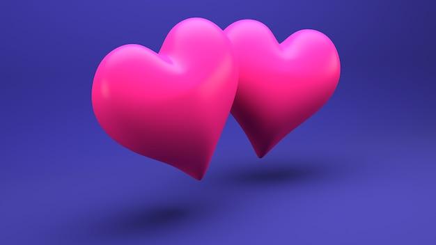 Driedimensionale illustratie van twee roze harten op een blauwe muur.