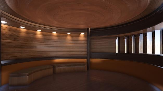 Driedimensionale kleurenachtergrond voor het houten 3d teruggeven van de tv-studio