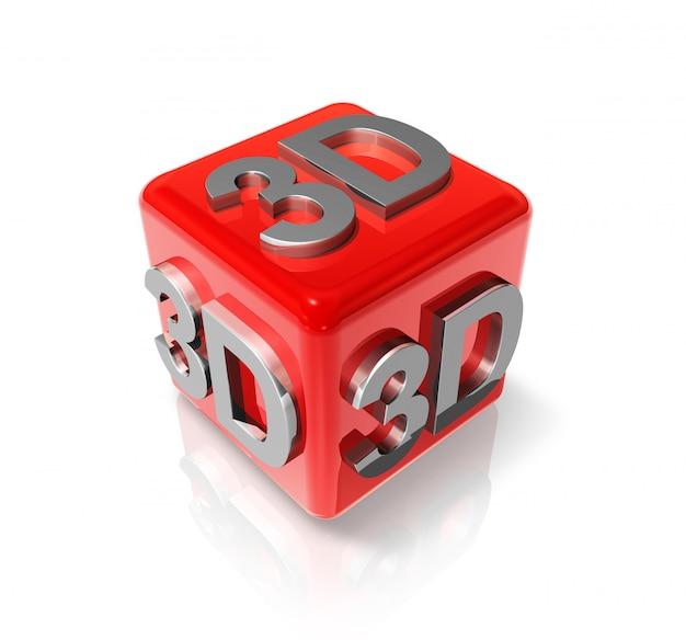 Driedimensionale kubus met 3d-logo op wit wordt geïsoleerd
