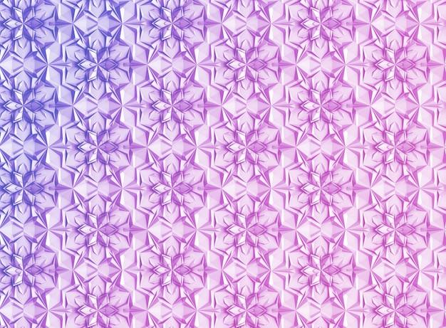 Driedimensionale lichtgeometrieachtergrond met zespuntige bloemen