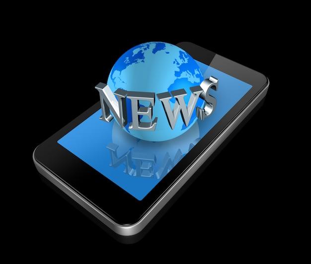 Driedimensionele mobiele telefoon en nieuwswereldbol die op zwarte whith het knippen weg wordt geïsoleerd