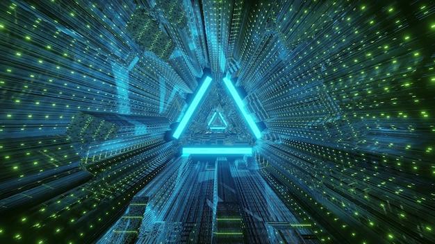 Driehoekige geometrische tunnel verlicht met heldere blauwe neonlichtenachtergrond
