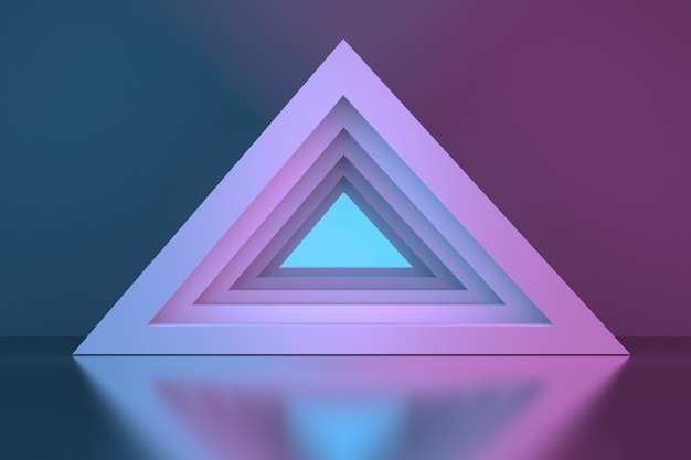 Driehoekige piramide tunnel portal over spiegelend oppervlak