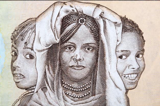 Drieluik van portretten eritrea kinderen van geld