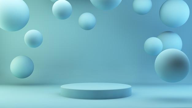 Drijvende bollen blauwe lege ruimte