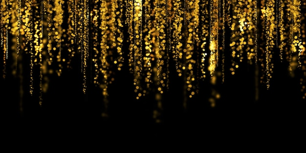 Drijvende gouden bokeh zwarte achtergrond gouden stardust 3d illustratie