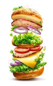 Drijvende hamburger geïsoleerd