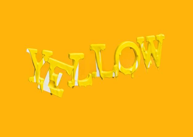 Drijvende letters vormen het woord geel met druipende verf