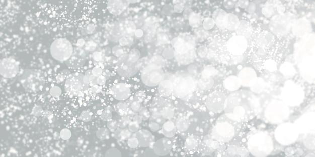 Drijvende witte bokeh zwarte achtergrond witte stardust 3d illustratie