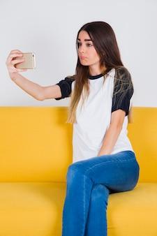 Droevig gezicht selfie