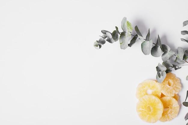 Droge ananasplakken op wit.