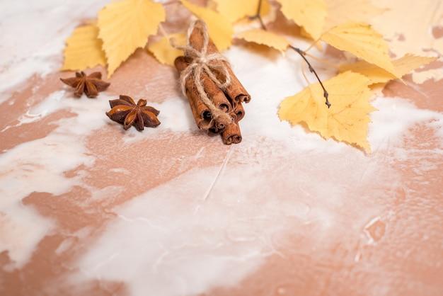 Droge bladeren van de de herfst de gele berk op een beton. gezellige herfst