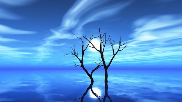 Droge boom op een maanverlichte nacht