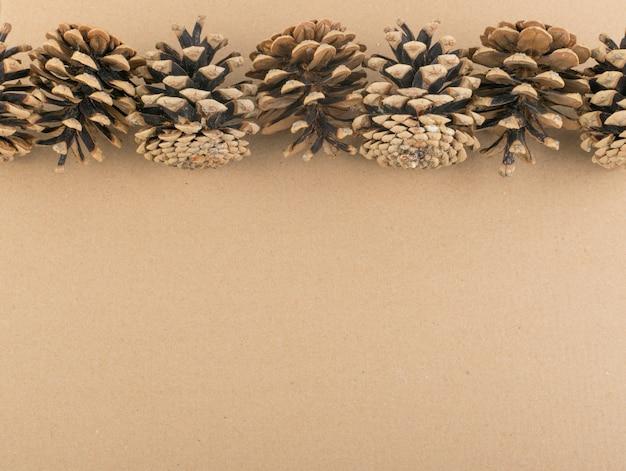 Droge bruine dennenappels achtergrond, textuur of patroon